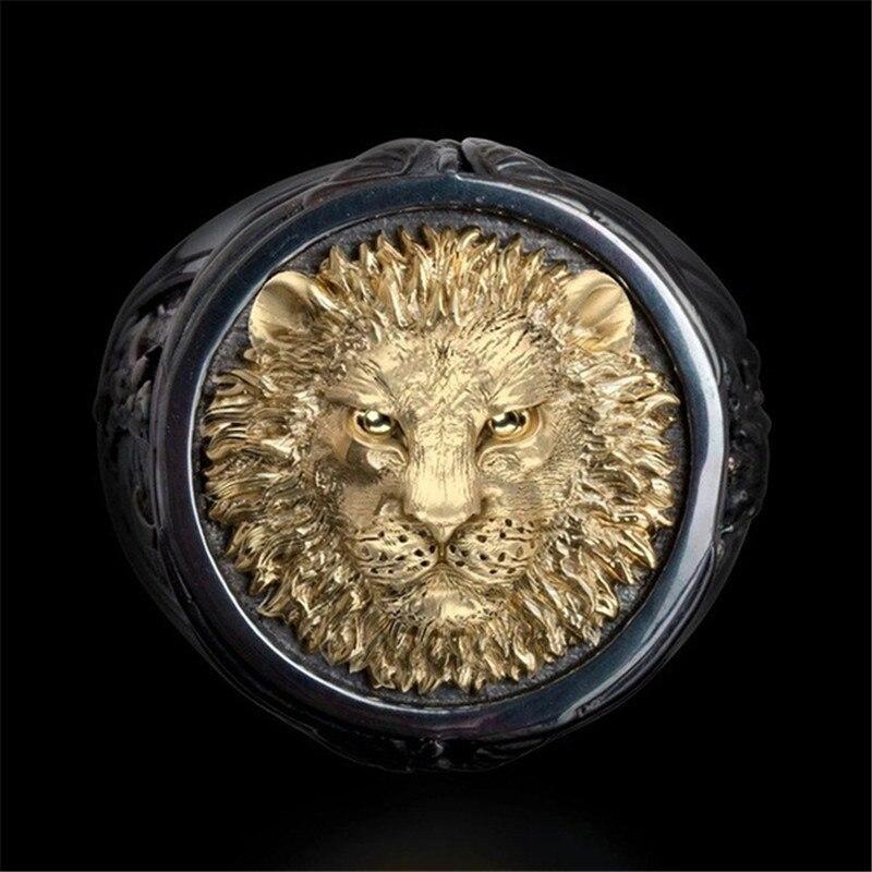 LETAPI – bagues Punk Vintage pour hommes, noir et or, tête de Lion, bijoux gothiques de motard, Cool