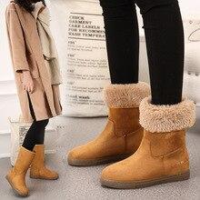 Зимняя женская обувь женские зимние ботинки до середины икры без шнуровки с плюшевой подкладкой размера плюс, утепленная Нескользящая шерстяная теплая женская обувь h75