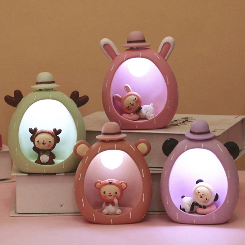 LED Baby Bedroom Lamps Novetly Light Cartoon Animal Resin Sleep Kids Gift Button Cells Powered Lamp Bulb Nightlight For Children