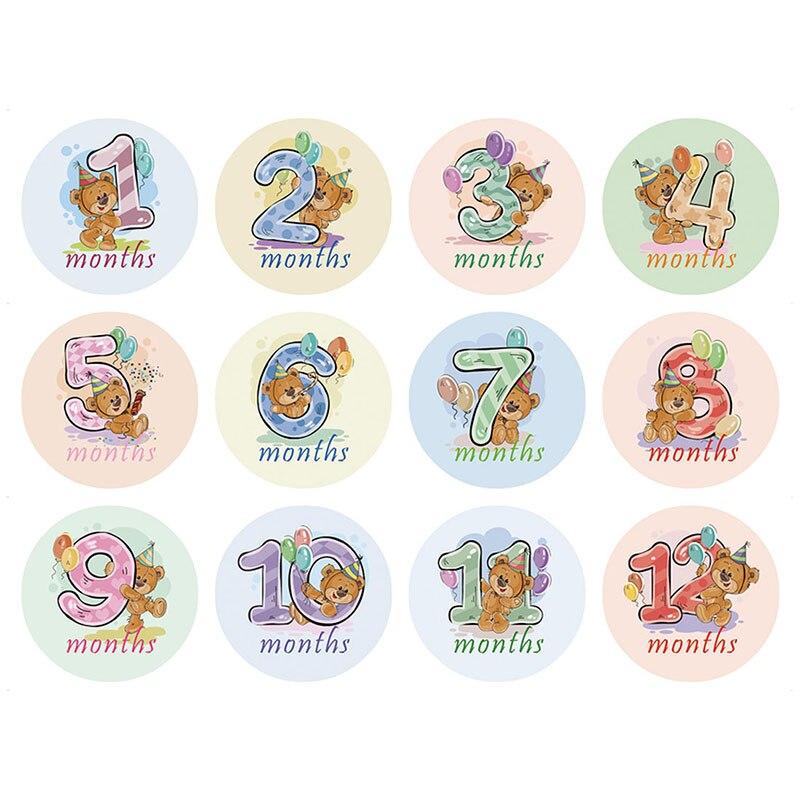 Горячие детские фото реквизит Новорожденные знаки-наклейки Детская открытка номер памятный месяц стикер - Цвет: 2