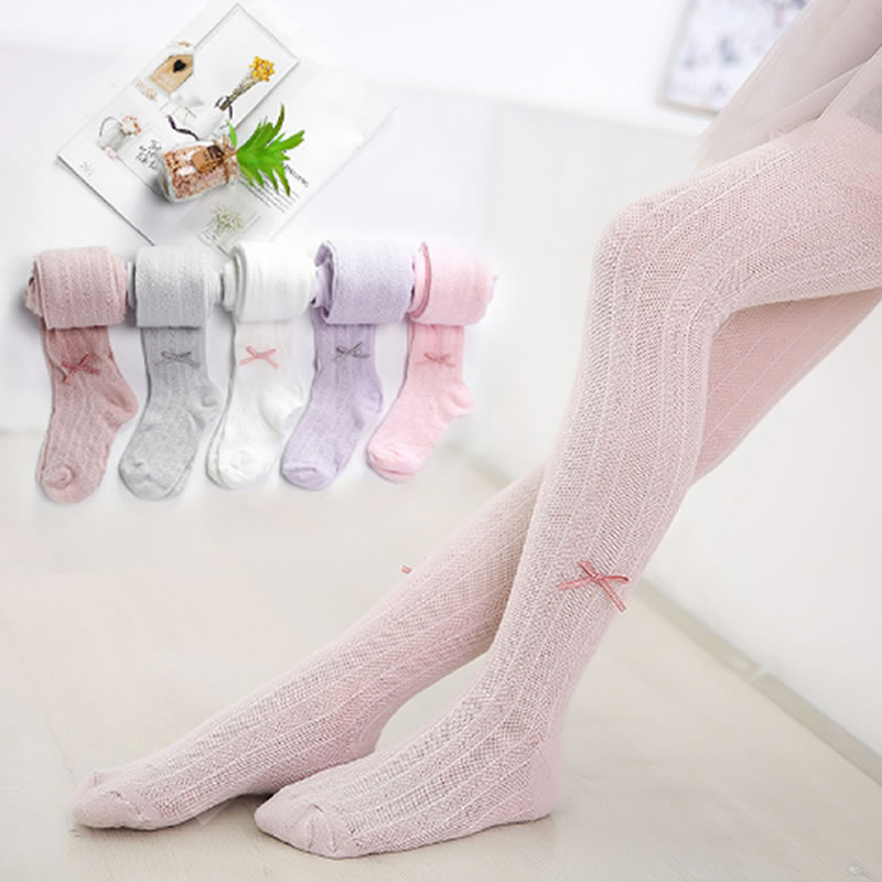 Baby's Tights Spring And Autumn Girls' Cotton Summer Mesh Tights Girl Ultra-thin Bow White Printed Kid Stocking For Infants