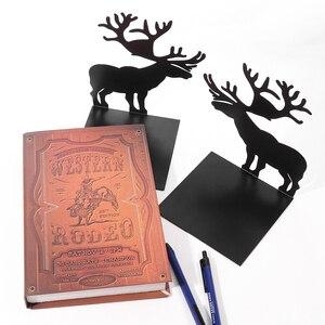 Image 5 - 2 יח\סט ספר בעל לקריאה איילים מתכת מדף ספרים תלמיד מתכת Bookend שולחן מחזיק Stand עבור ספרים ארגונית חג המולד מתנה