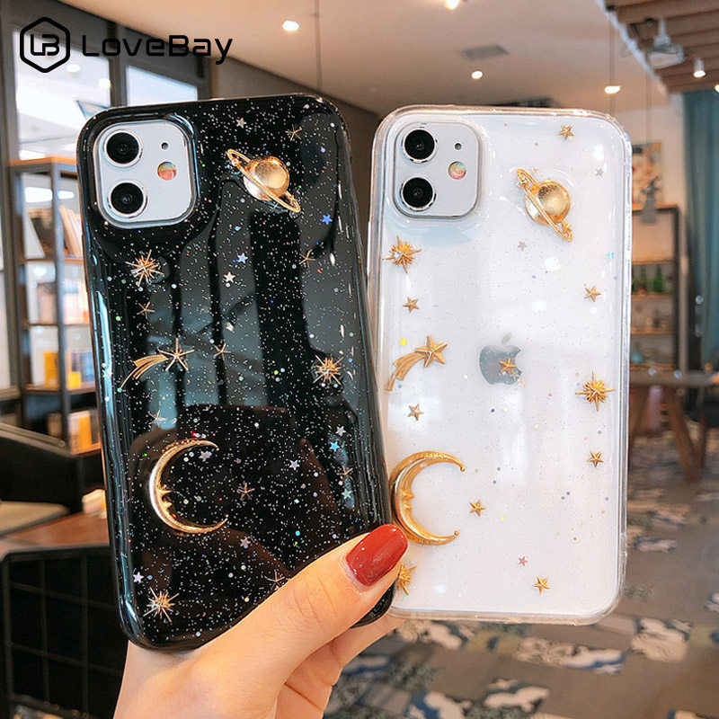 Lovebay Jelas Bling Bulan Bintang Ponsel Case untuk iPhone 7 8 6 6 S Plus 11 Pro X XR XS max Glitter Planet Lembut TPU Silikon Back Cover
