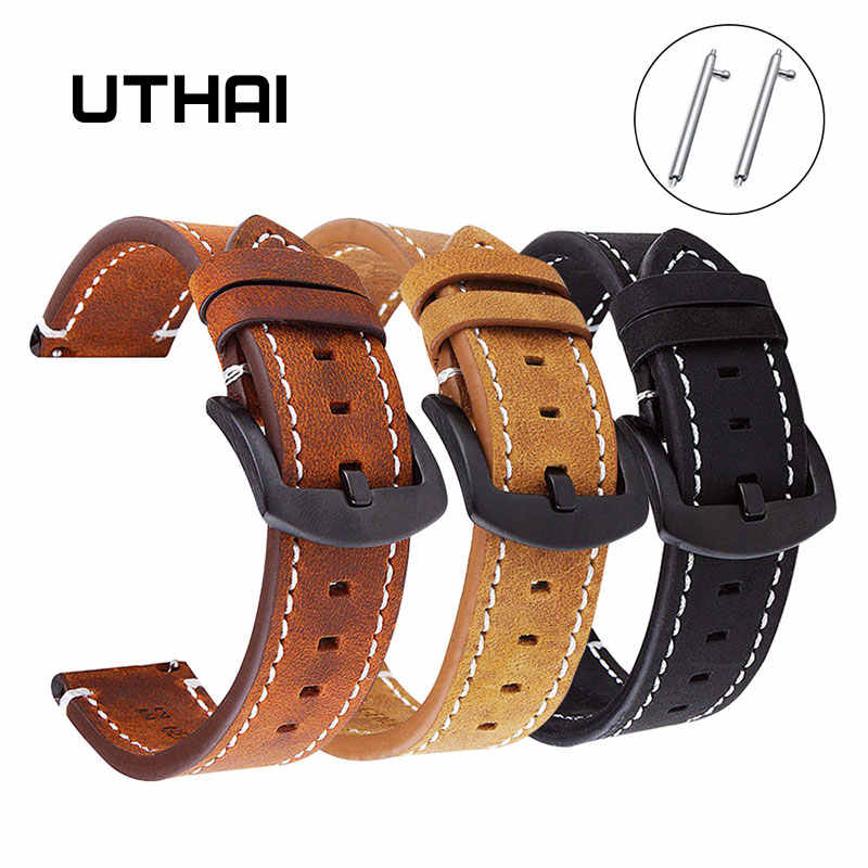 UTHAI P18 Geniune רטרו עגל עור Watchbands18mm 20mm 22mm שעון רצועת עבור Samsung שעון רצועה עבור Huawei שעון