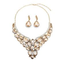 Роскошный ювелирный набор с кристаллами, массивное ожерелье, серьги, свадебные ювелирные изделия, модные женские Стразы, колье, индийский стиль