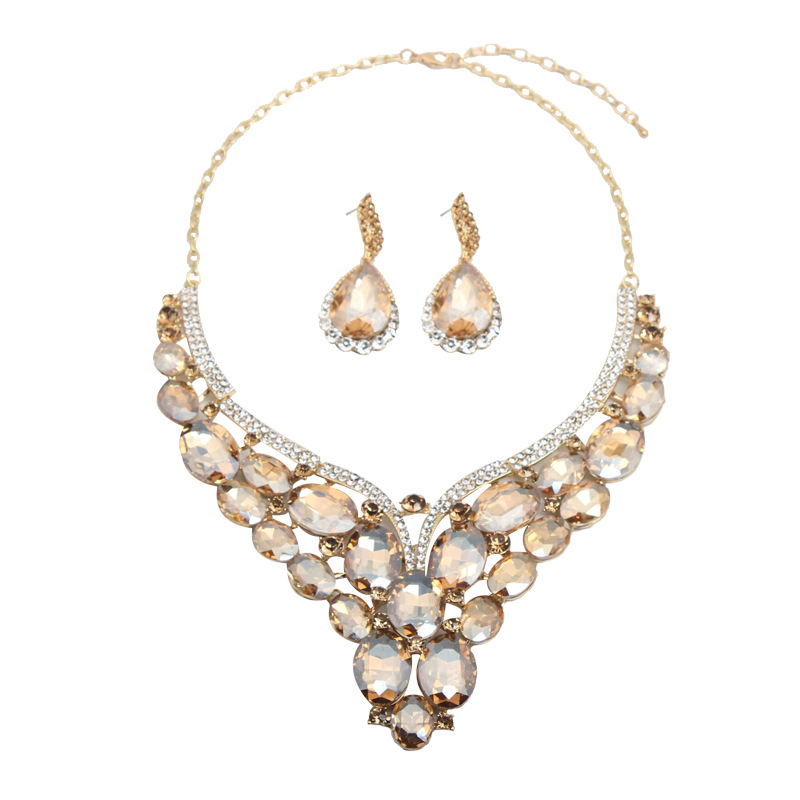 Luxury Crystal Jewelry Set Statement Necklace Earring Bridal Wedding Jewellery Fashion Women Rhinestone Statement Choker IndianJewelry Sets   -