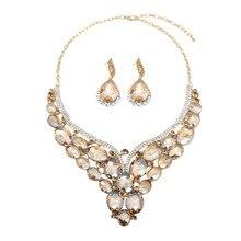 Luxus Kristall Schmuck Set Aussage Halskette Ohrring Braut Hochzeit Schmuck Mode Frauen Strass Erklärung Choker Indische