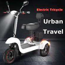 SEALUP Electric Tricycle Scooter Three Wheel Electric Scooters 12 inch 48V 500W Portable Electric Scooter Adults With Two Seat(China)