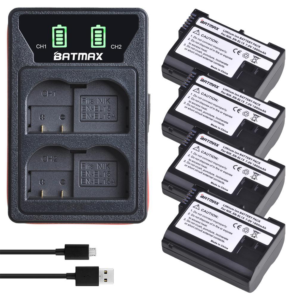 4X EN EL15 EN-EL15A EN-EL15 batterie + chargeur USB LED, pour Nikon D500 D600 D610 D750 D7000 D7100 D7200 D800 D800E D810