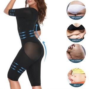 Image 3 - Women Fajas Colombianas Powernet Full Body Shaper Post Surgery BodySuit Waist Trainer Corset Shapewear Tummy Control Arm shaper