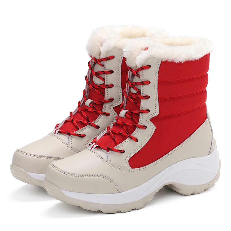 נשים מגפי 2019 נשים שלג מגפי אופנה תחרה עד חורף נעליים נשי חורף חם פרווה פלטפורמת קרסול מגפי נשים