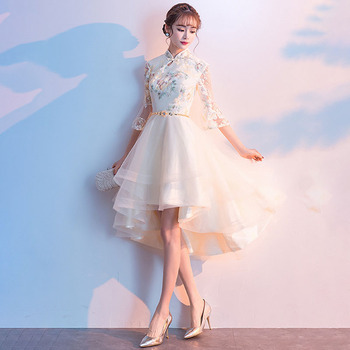 Mandarin Collar Slim Female Qipao Champagne Embroidery Flower Chinese Style Evening Party Dress Vintage 3/4 Sleeve Cheongsam