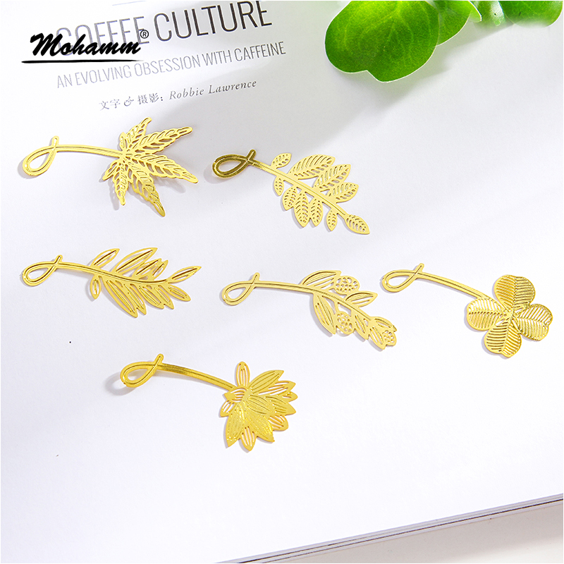 Kawaii Cute Gold Olive Leaf Clover Lotus Metal Book Markers Bookmark For Books Paper Clips Office School Supplies Stationery