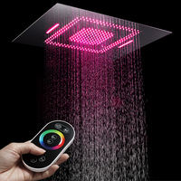 60*80cm Rainfall Shower Heads Remote Control Led Light Ceiling Rain Shower head Waterfall Massage Bathroom Showerheads