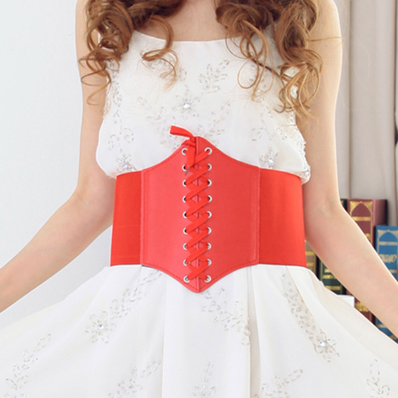 Newly Women Corset Wide PU Leather Slimming Body Belt Elastic High Waist Shaping Girdle Bands Belts M99