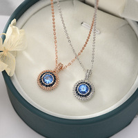 New Fashiona blue Round Eye Necklace Friendship Women Gift Silver Swa 1:1 Clavicle Chain 2019 Jewelry