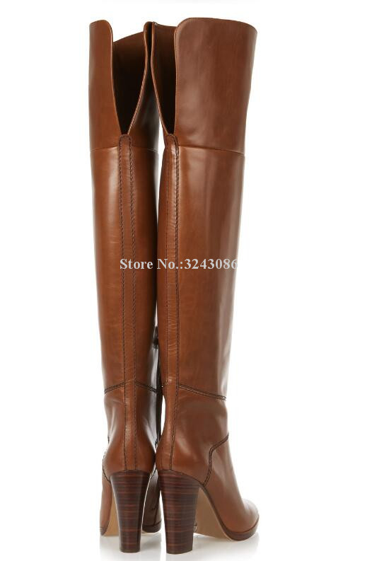 Neue Braun Leder Chunky Ferse Frauen Lange Stiefel Marke Design Große Größe Über die Knie Stiefel Promi Bankett Schuhe Dropship - 2