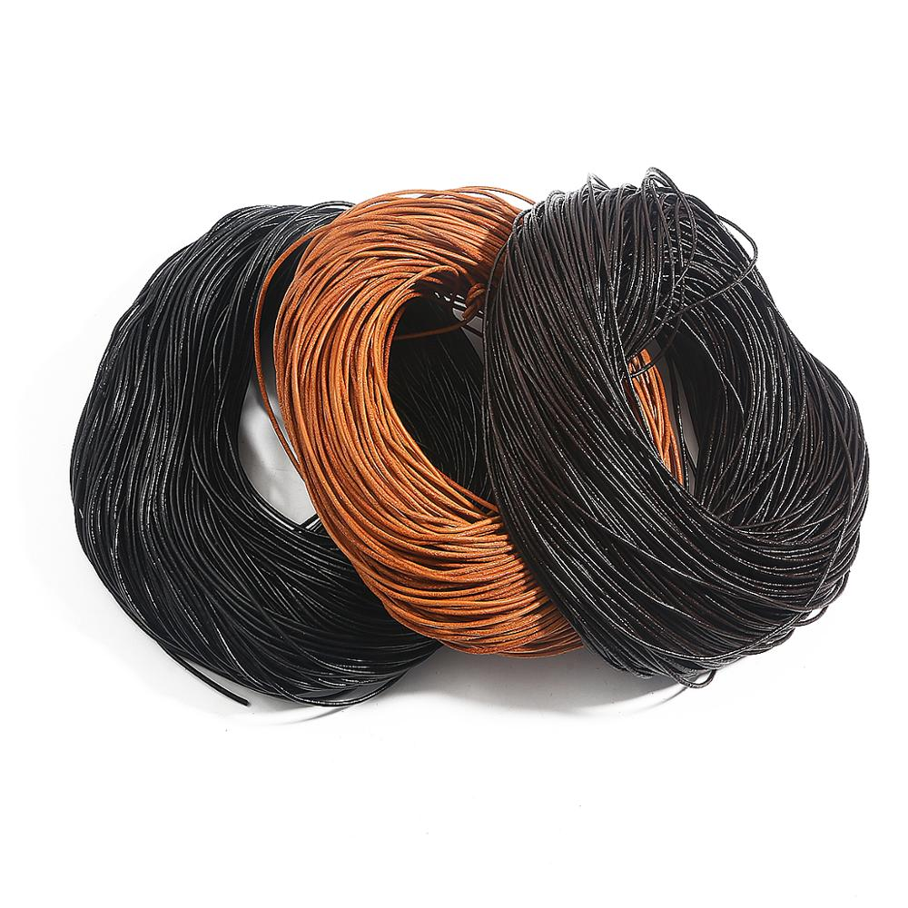 2//5M Cow Leather Round Thong Cord DIY Bracelet Rope String for Jewelry Making