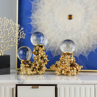 8cm Crystal Ball With Coral Brass Base Figurines For Home Living Room Office Modern Home Decoration Accessories Gift Table Art