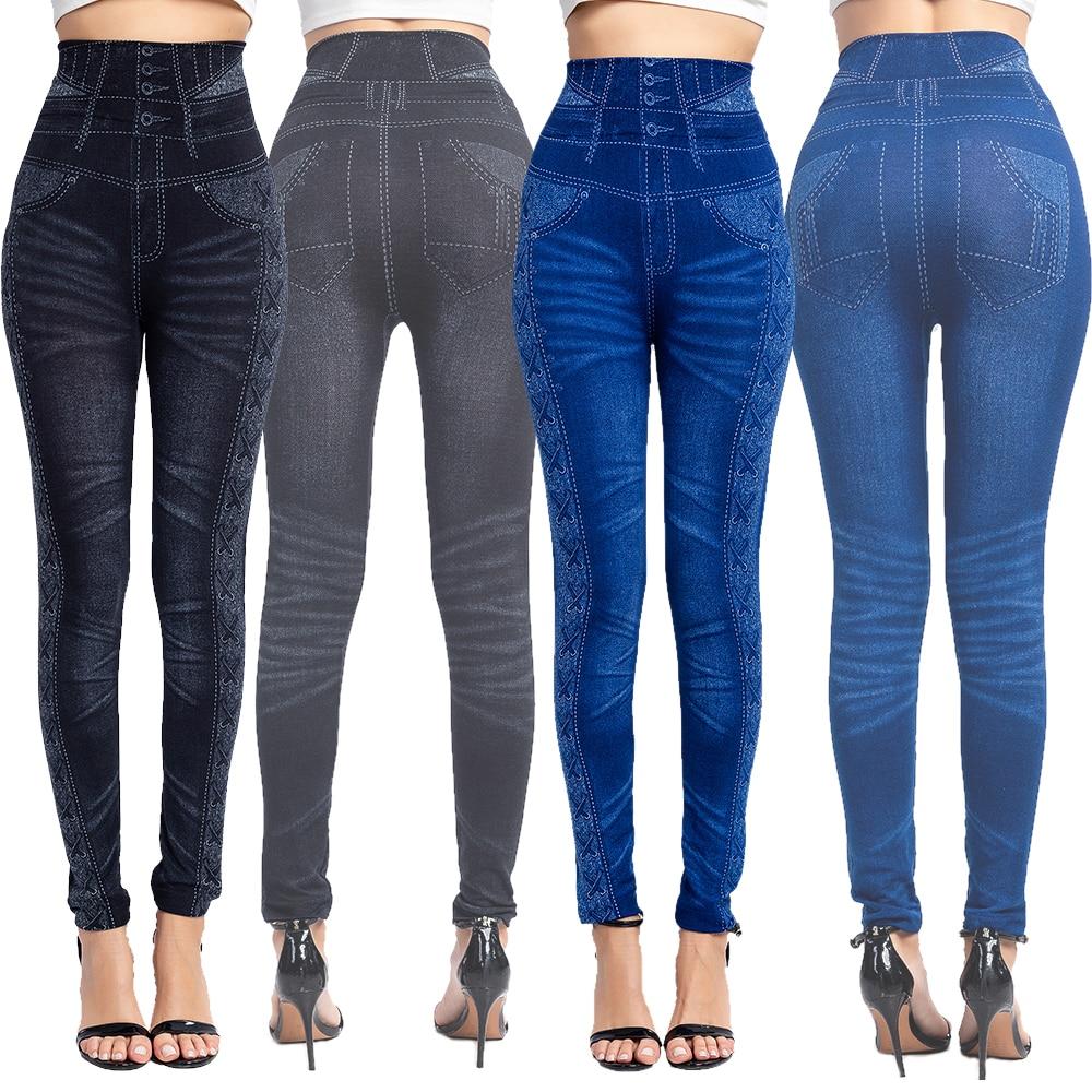 Women Sexy Push Up Seamless High Waist Warm Jeans Leggings Women Spring Elastic Faux Denim Jeggings Pants Leggins Mujer 3XL