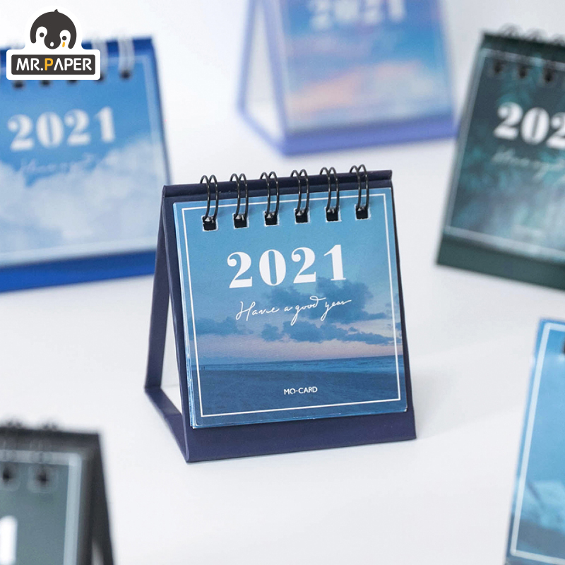 Mr.Paper 2021 mini Calendars Creative Desktop Ornaments Portable Work Note Calendar New Year Study Work Daily Schedulel 6 Styles 5