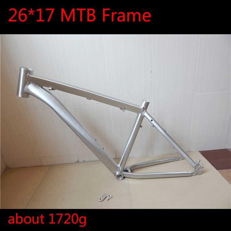 2019 High Quality 26 17 Alloy Aluminum MTB Frame Ultra-light Sliver Color Wire Drawing Oil Paint Moutain Bike Frame 26er