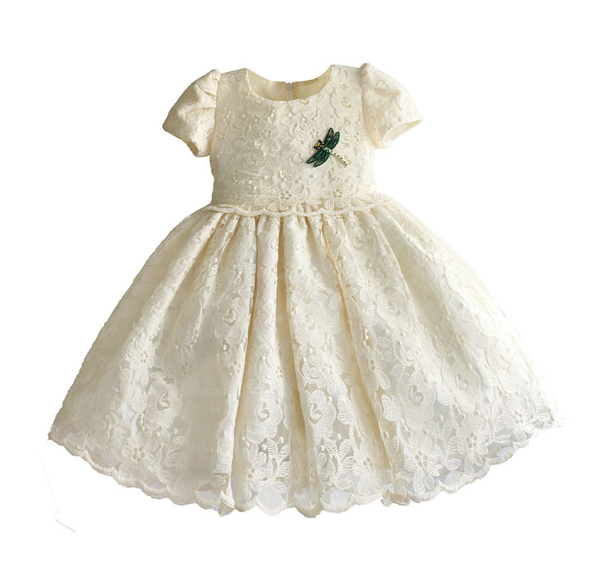 Zoeflowe New Style Button Empty Lace Pure Cotton Short Sleeve Puffy Princess Dress Formal Dress Apricot