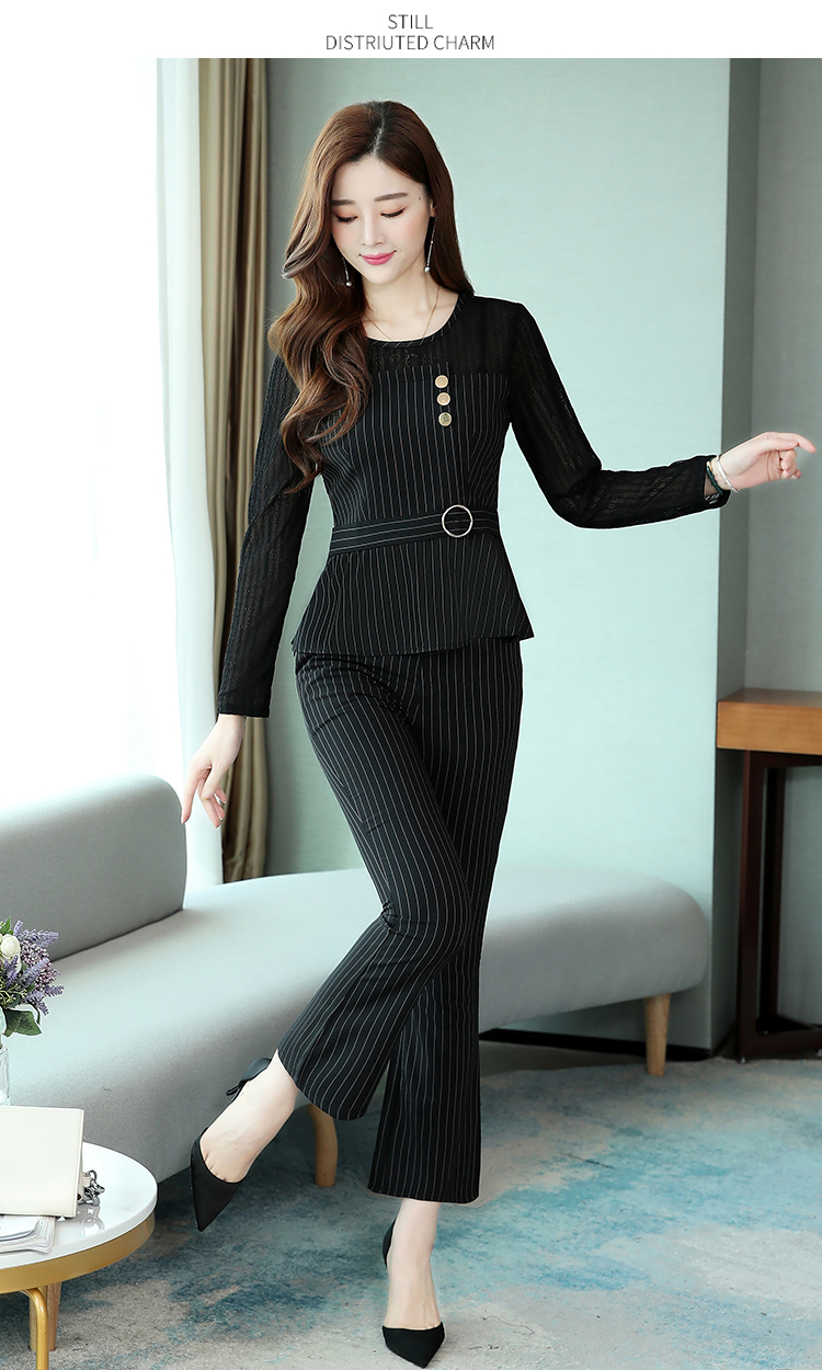 Black Striped Office Two Piece Sets Outfits Women Plus Size Long Hollow Tops And Pants Suits Elegant Korean Ol Style Sets 2020 35