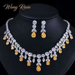 Wong Rain 100% 925 Sterling Silver Sets Water Drop Pear Citrine Topaz Gemstone Necklace/Earrings Cocktail Jewelry Sets Wholesale