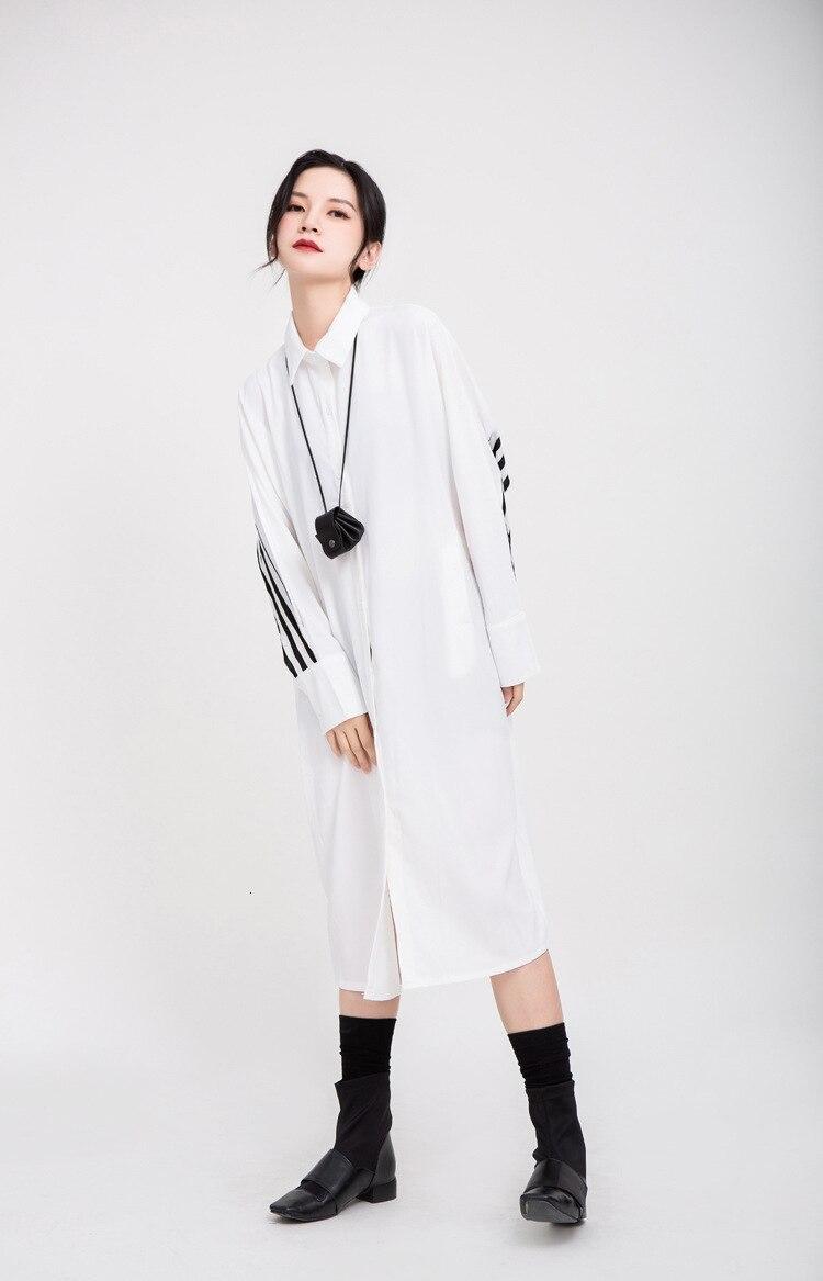 New Fashion Style Back Striped Split Big Size Shirt Dress Fashion Nova Clothing