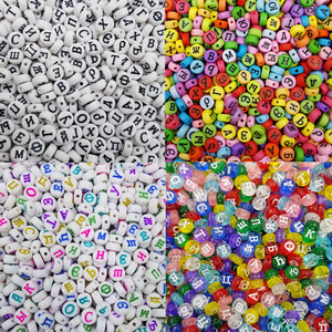 Hot 100 Pcs/Lot For Necklace Bracelet New DIY Loose Beads Acrylic Russian Letter Wholesale Flat/Square