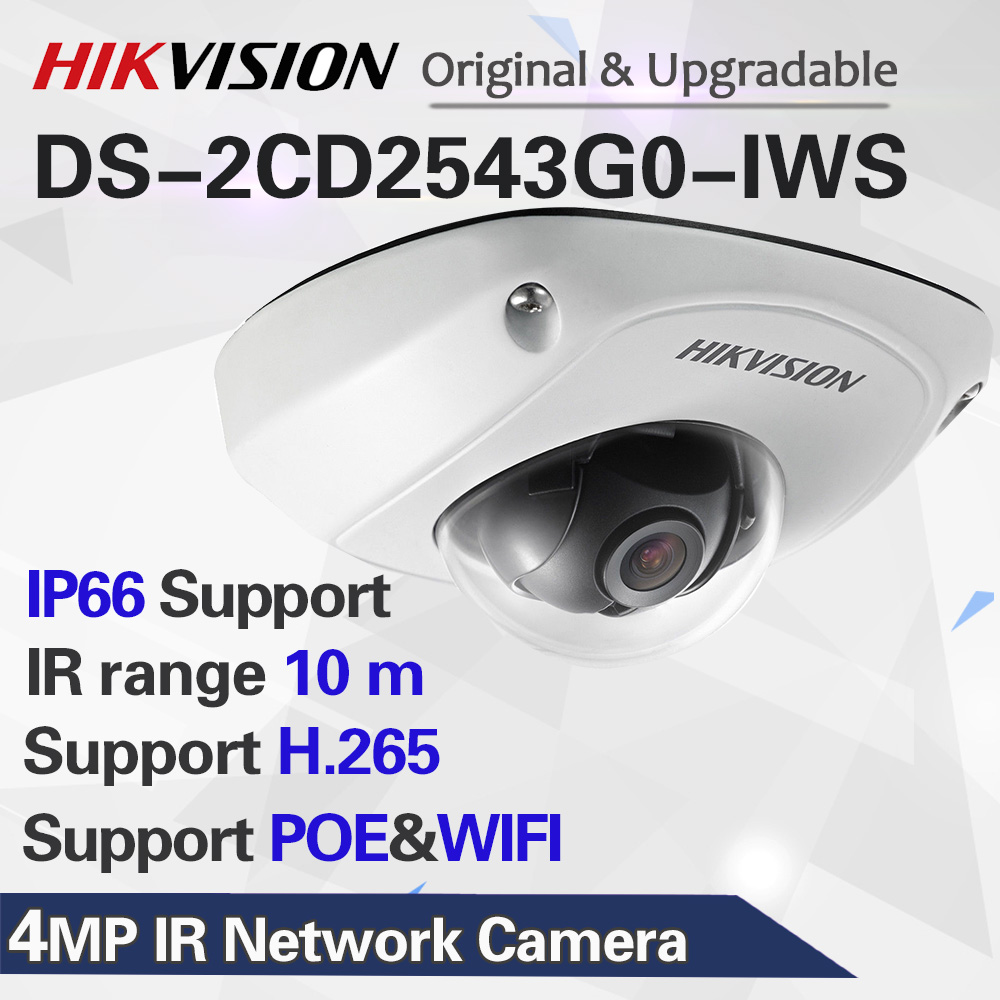 DS-2CD2543G0-IWS HIK видеонаблюдение WiFi камера 4MP беспроводной инфракрасный мини-купол ip-камеры безопасности POE H.265 + Встроенный микрофон