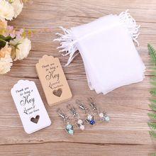 20 unids/set llavero con anilla para llaves etiquetas tarjeta dulces bolsas Vintage recuerdos de boda invitado X4YD