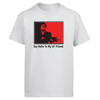 SCARFACE Say Hello To My lil Friend Tshirt Men Movie T shirt Tshirts Summer Cotton Short Sleeve Black White T-Shirt Tees Tops