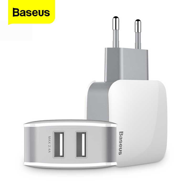 Baseus Dual Usb Oplader Voor Iphone Samsung Travel 2.4A Muur Usb Charger Adapter Mobiele Telefoon Oplader Voor Smartphoner Us Eu plug