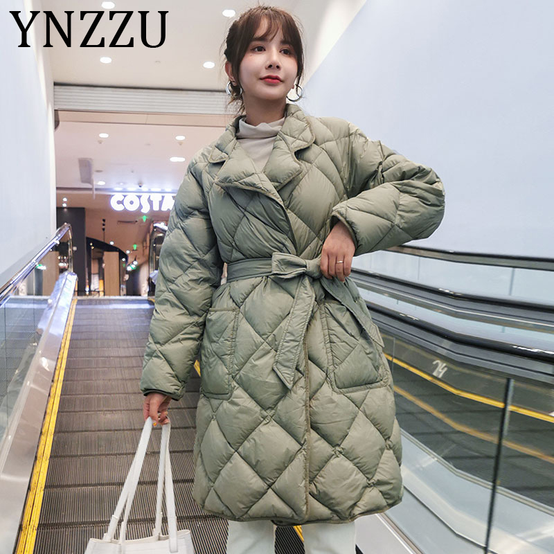 YNZZU Korean Style 2019 Winter Jacket Women Solid Mid-Long Ultra Light White Duck Down Coat Female Outwears with Sashes A1373