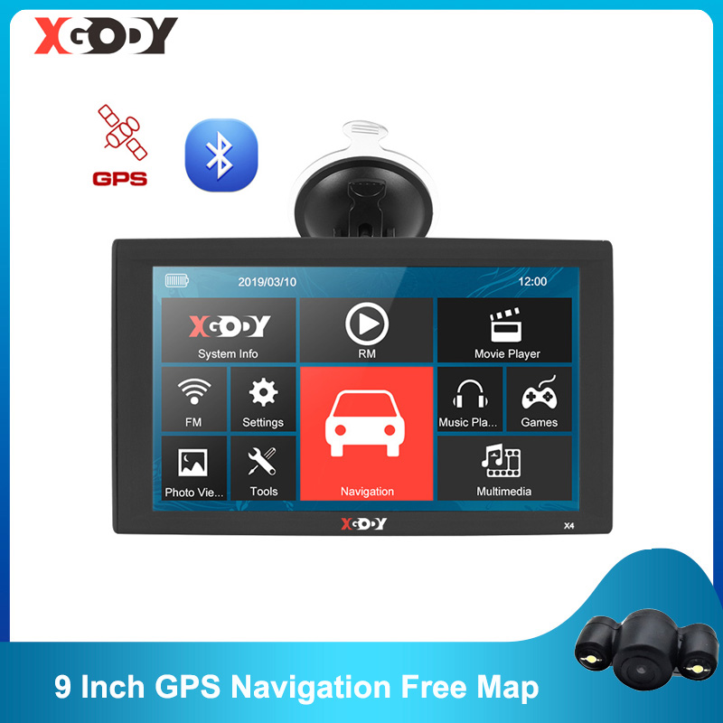 Автомобильный GPS-навигатор XGODY X4, 9 дюймов, 256 Мб, 8 ГБ, Bluetooth-навигатор, GPS, спутниковая навигация, FM-радио, камера заднего вида, Карта Европы 2020