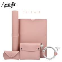 5 in 1 Luxury PU Leather Bags For Macbook Air 13 Case 11 12 New Pro 13 15 2018 2019 Sleeve Laptop Bag For Xiaomi Air 13.3 15.6