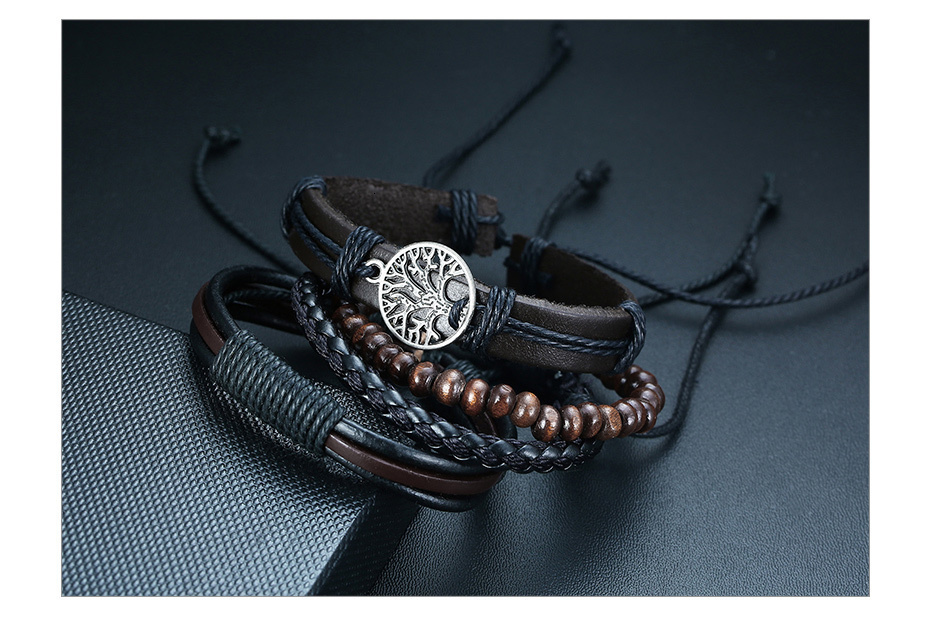 Hdd74250305a648668c3981c454556155P - Vnox 4Pcs/ Set Braided Wrap Leather Bracelets for Men Vintage Life Tree Rudder Charm Wood Beads Ethnic Tribal Wristbands