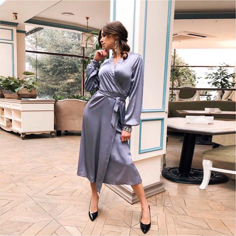 Women Bandage Sexy Bright High Split Party Dress Ladies Long Sleeve V Neck Elegant 2020 New Spring Fashion Bohe Midi Dress