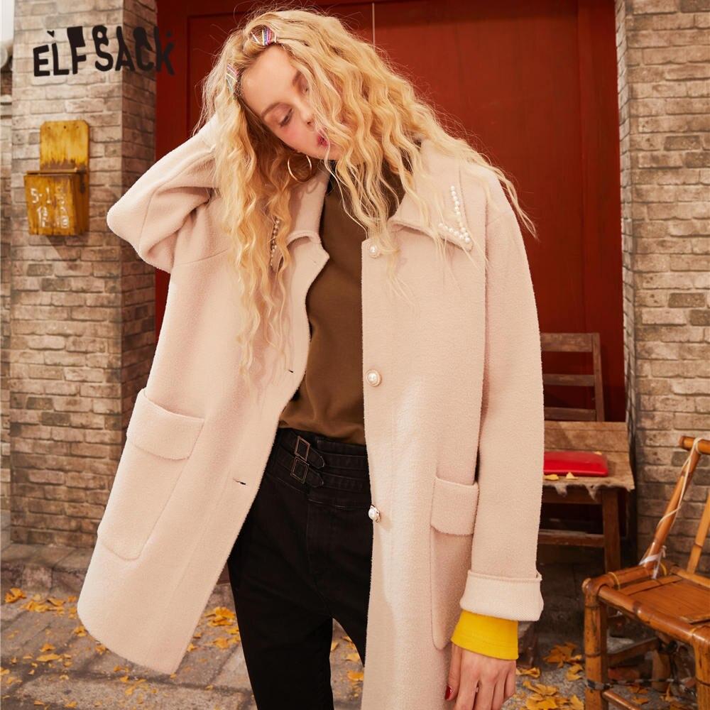 ELFSACK Black Solid Single Pearls Button Women Jacket 2020 Spring Beige Vintage Pocket Long Sleeve Casual Ladies Daily Outwears