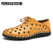 New Genuine Leather Men Summer Shoes Breathable Male Casual
