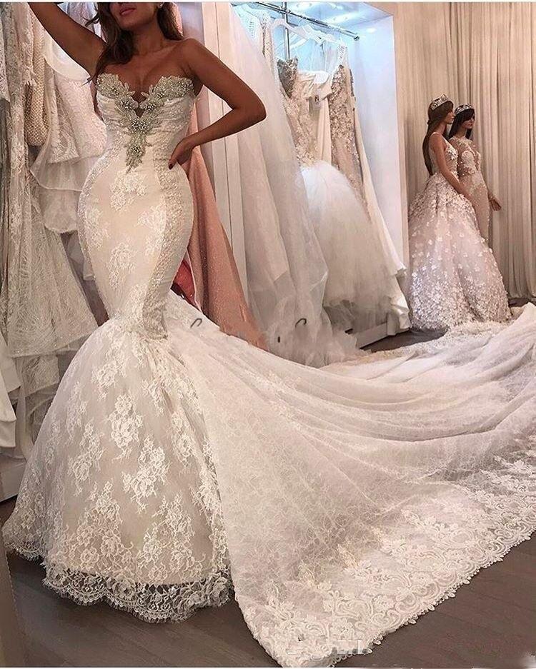 2019 Sexy Mermaid Wedding Dresses Lace Appliques Crystal Beaded Vestido De Noiva Tulle Dechable Chapel Train Bridal Gowns