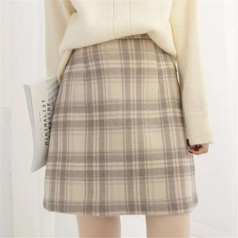 Casual Women Wool Plaid Skirt Japanese Harajuku Ulzzang Vintage High Waist A-line Skirt Female Fashion Korean Kawaii Cute Skirt