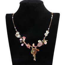 Statement Pink Crystal Enamel Flower Necklace Women Accessories Chic Pine Cone Plant Tassel Long Chain Necklace Jewelry XL006 chic dry flower necklace for women