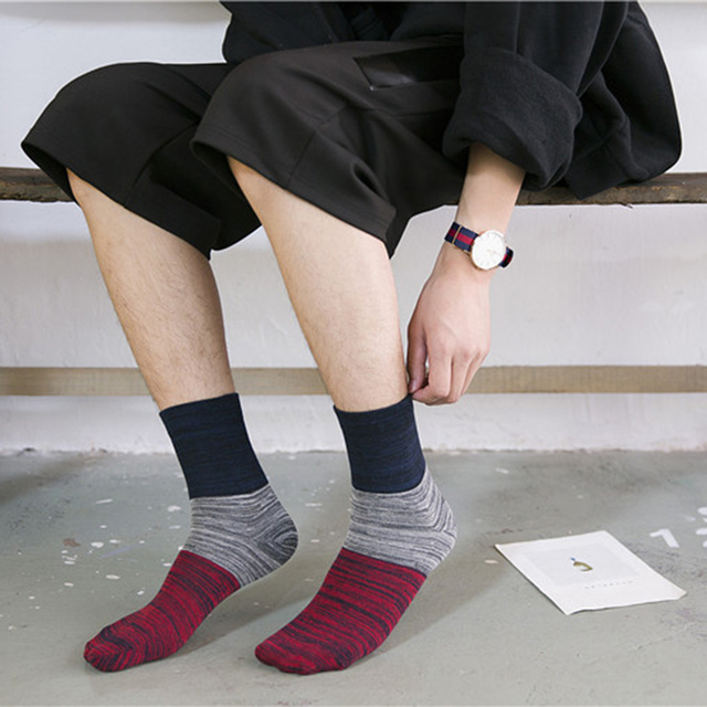 2019 New Japanese Style Colorful Harajuku Socks Men  5/pairs high quality Cotton Leisure painting Funny Happy Socks For Man