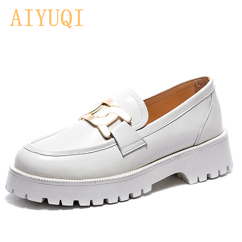 AIYUQI Shoes Women Spring 2021 New White Thick soled Ladies Sneakers Genuine Leather Casual Trend Girl Shoes Students