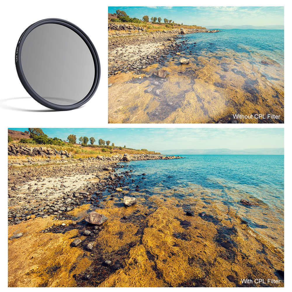 K & F Concept Nano X SLIM CPL Filter Circular Polarizer Lensa Filter 58 Mm 62 Mm 67 Mm 72 Mm 77 Mm 82 Mm untuk Canon Nikon Sony DSLR Kamera