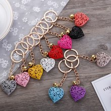 Fashion metal heart key chain colorful heart metal clock and clock key chain pendant gift 1