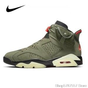 Кроссовки Nike Air Jordan 6 мужские и женские, Баскетбольная обувь, Трэвис Скотт, средние кроссовки, оригинал